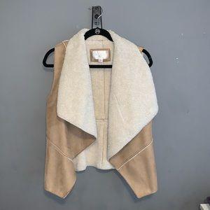Tan Faux Sheep Wool Fur Vest